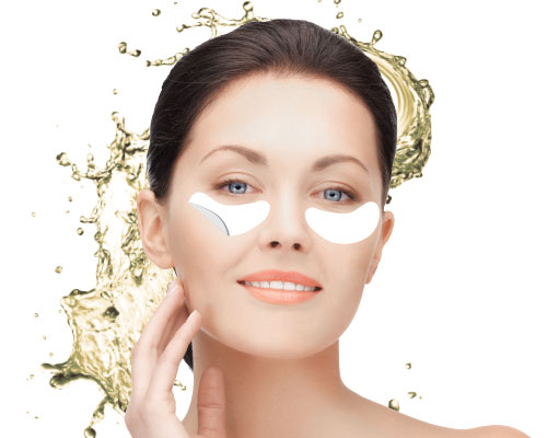 Revitalizing hydrogel eyes contour patches with champagne