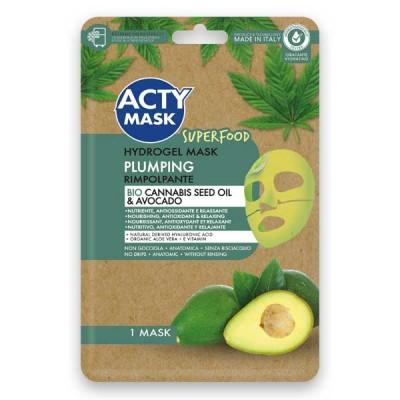 Maschera Hydrogel Rimpolpante con Olio di Cannabis Bio e Avocado